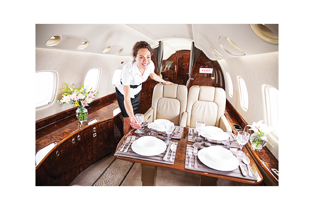 Private jet charter flight attendant image
