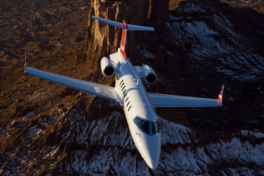 bombadier aviation, learjet exterior, lear jet overhead