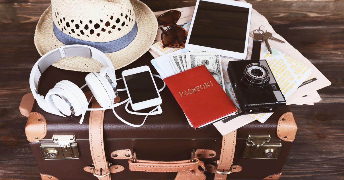 passport, headphones, sunglasses, suitcase, travel kit, go bag, jets.com